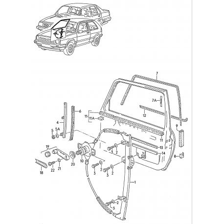 VW Golf 2 Stiklu pacelšanas mehānisms kr. 2 durvis 191837401B