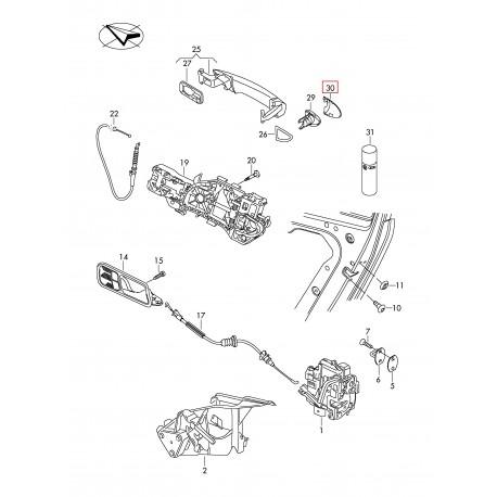 VW PASSAT B6 Durvju roktura vāciņš 3C0837880AGRU